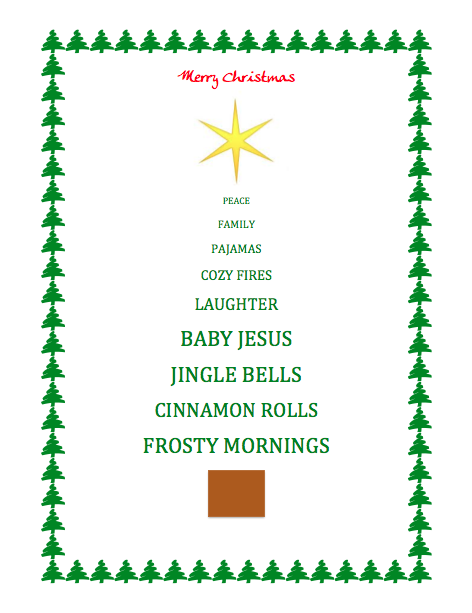 5th Grade Welcome – Christmas Card Word